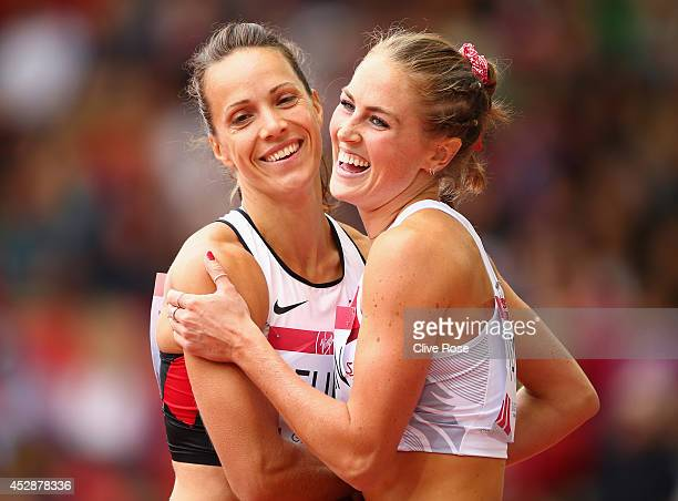Jessica Zelinka of Canada hugs Jessica Tappin of England after competing in the Women's Heptathlon 100 metres hurdles at Hampden Park during day six...