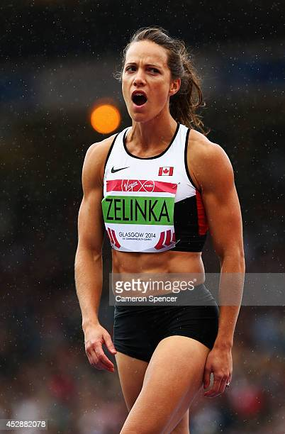 Jessica Zelinka of Canada reacts after a jump in the Women's Heptathlon high jump at Hampden Park during day six of the Glasgow 2014 Commonwealth...