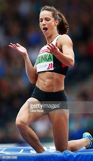 Jessica Zelinka of Canada reacts after jump in the Women's Heptathlon high jump at Hampden Park during day six of the Glasgow 2014 Commonwealth Games...