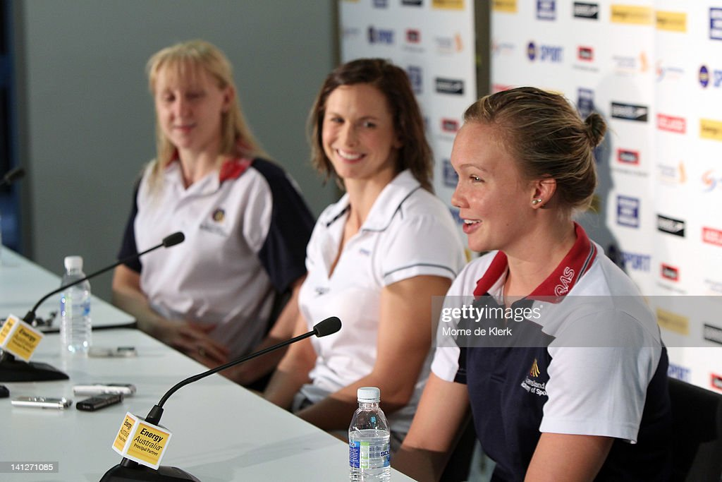Jessicah Schipper, Libby Trickett and Kylie Palmer speaks to the media during an Australian Swimming Championships press conference at the South Australian Aquatic & Leisure Centre on March 14, 2012 in Adelaide, Australia.