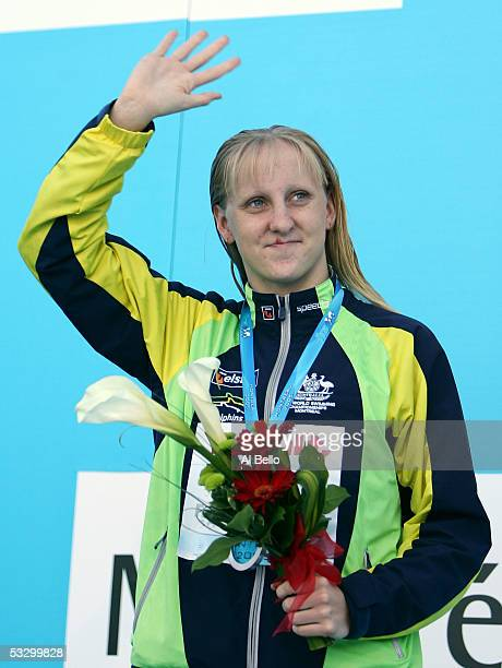 Jessicah Schipper of Australia waves to the crowd after receiving the silver medal in the 200 meter Butterfly final during the XI FINA World...