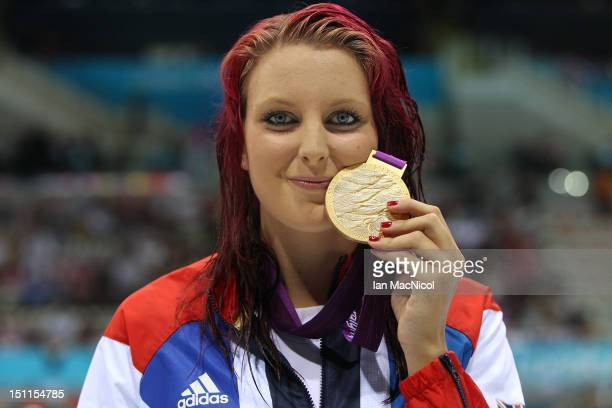 Jessica-Jane Applegate of Great Britain with her Gold medal from the Women's 200m Freestyle - S14 final on day four of the London 2012 Paralympic...
