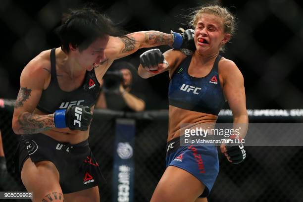 JessicaRose Clark lands a punch against Paige VanZant during the UFC Fight Night event inside the Scottrade Center on January 14 2018 in St Louis...