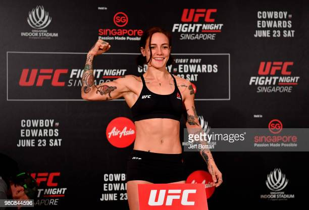 JessicaRose Clark of Australia poses on the scale during the UFC Fight Night weighin at the Mandarin Oriental on June 22 2018 in Singapore