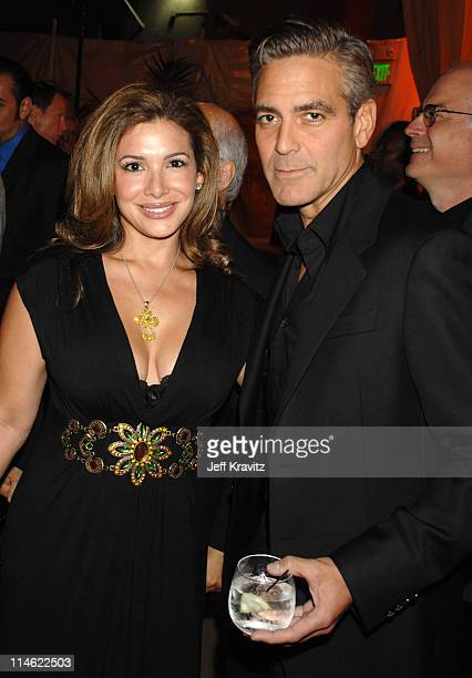 Jessie Alexander and George Clooney during Ocean's Thirteen Los Angeles Premiere After Party in Los Angeles California United States