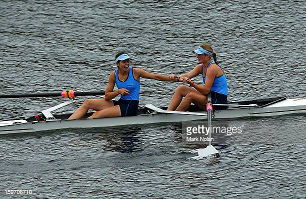 Jessie Allen and Genevieve Horton of New South Wales celebrate winning the Women's Coxless Pair at the rowing on day four of the Australian Youth...