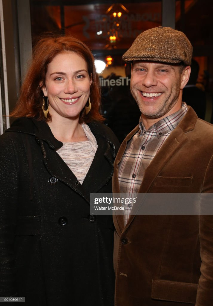 Jessie Austrian and Noah Brody attends the Broadway Opening Night Performance of 'John Lithgow: Stories by Heart' at the American Airlines Theatre on January 11, 2018 in New York City.