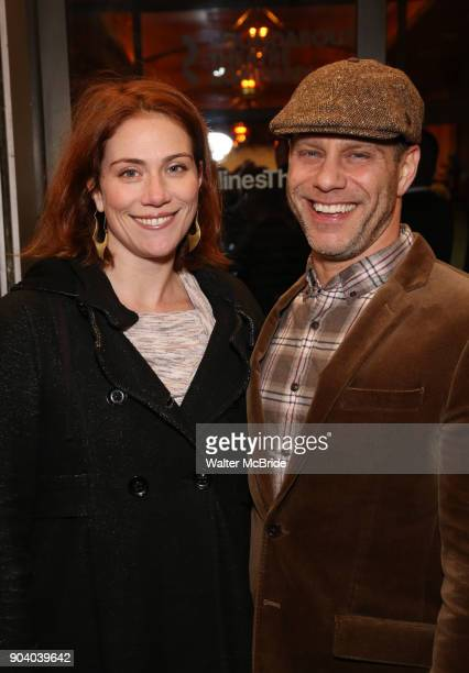 Jessie Austrian and Noah Brody attends the Broadway Opening Night Performance of 'John Lithgow Stories by Heart' at the American Airlines Theatre on...