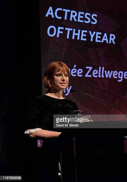 Jessie Buckley accepts the Best Actress award on behalf of Renee Zellweger for Judy during The 40th London Film Critics' Circle Award at The May Fair...
