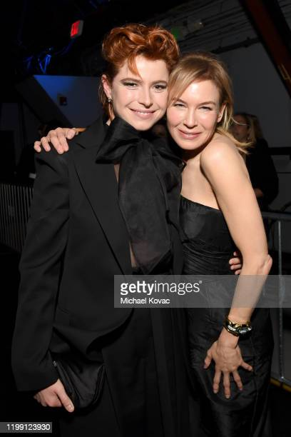 Jessie Buckley and Renée Zellweger attend the 25th Annual Critics' Choice Awards at Barker Hangar on January 12 2020 in Santa Monica California