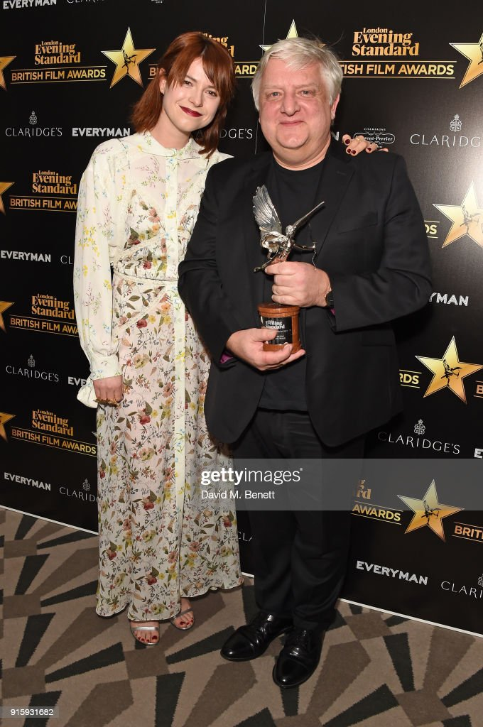Jessie Buckley and Simon Russell Beale pose with the Best Supporting Actor award for 'The Death of Stalin' at the London Evening Standard British Film Awards 2018 at Claridge's Hotel on February 8, 2018 in London, England.