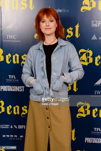 Jessie Buckley attends a special preview screening of 'Beast' at Ham Yard Hotel on April 16 2018 in London England