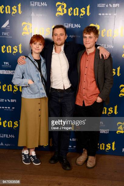 Jessie Buckley director Michael Pearce and Johnny Flynn attend a special preview screening of 'Beast' at Ham Yard Hotel on April 16 2018 in London...