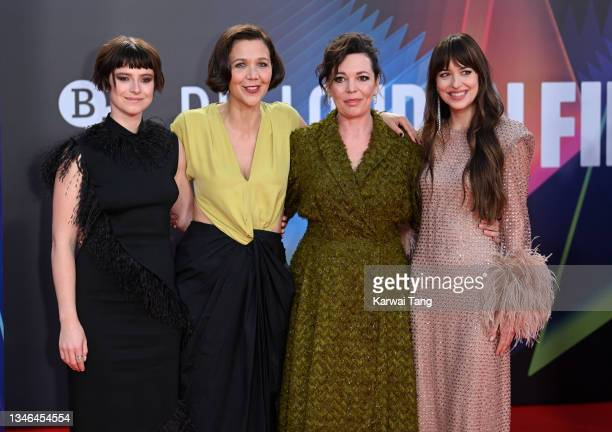 """Jessie Buckley, Maggie Gyllenhaal, Olivia Colman and Dakota Johnson attend """"The Lost Daughter"""" UK Premiere during the 65th BFI London Film Festival..."""