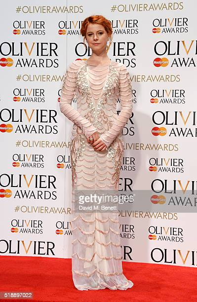 Jessie Buckley poses in the Winners Room at The Olivier Awards with Mastercard at The Royal Opera House on April 3 2016 in London England