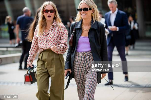 Jessie Bush and Lucy Williams seen outside Tory Burch during New York Fashion Week September 2019 on September 08, 2019 in New York City.