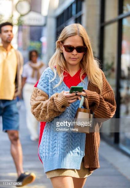Jessie Bush is seen wearing multi colored knit outside Marques Almeida during London Fashion Week September 2019 on September 14, 2019 in London,...