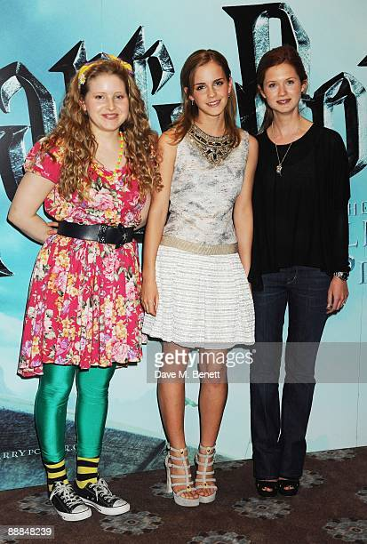Jessie Cave Emma Watson and Bonnie Wright pose during the photocall of 'Harry Potter And The HalfBlood Prince' at Claridge's Hotel on July 6 2009 in...