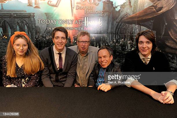 Jessie Cave Oliver Phelps Mark Williams Warwick Davis and James Phelps sign copies of the final DVD 'Harry Potter And The Deathly Hallows Part Two'...
