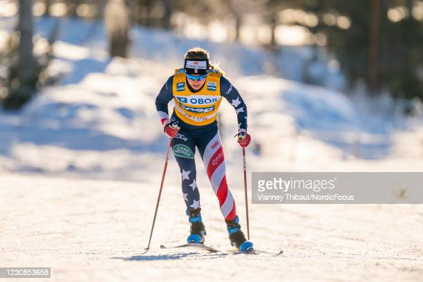 Jessie Diggins of USA takes first place during the Women's 10km free at the Coop FIS Cross-Country World Cup Falun at on January 29, 2021 in Falun,...