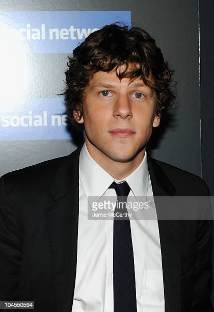 """Jessie Eisenberg attends Columbia Pictures' and The Cinema Society's screening of """"The Social Network"""" at the School of Visual Arts Theater on..."""