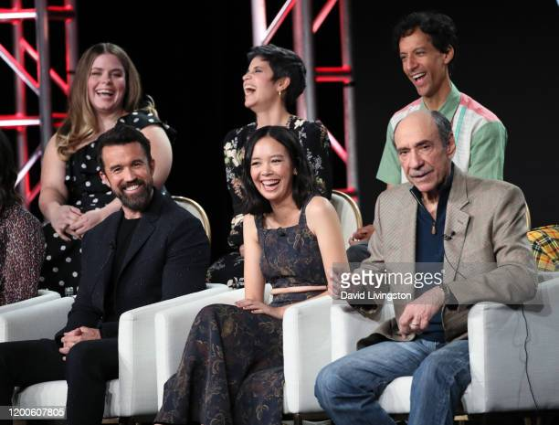 Jessie Ennis Rob McElhenney Ashly Burch Charlotte Nicdao Danny Pudi and F Murray Abraham of Mythic Quest Raven's Banquet speak on stage during the...