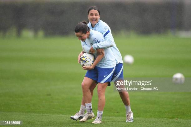 Jessie Fleming and Sam Kerr of Chelsea react during a Chelsea FC Women Training Session at Chelsea Training Ground on October 21 2020 in Cobham...