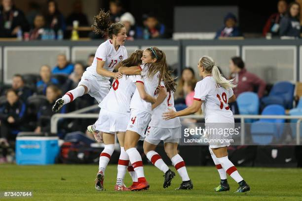Jessie Fleming Janine Beckie Shelina Zadorsky Allysha Chapman and Adriana Leon of Canada celebrate after Janine Beckie scored a goal against the...