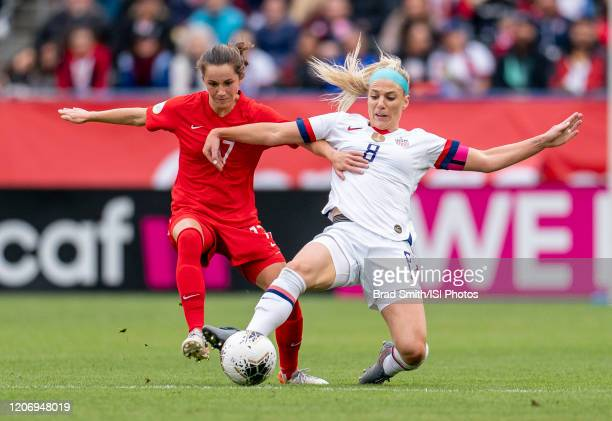 Jessie Fleming of Canada and Julie Ertz of the United States fight for the ball during a game between Canada and USWNT at Dignity Health Sports Park...