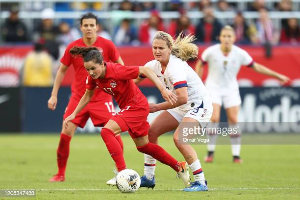 Jessie Fleming of Canada and Lindsey Horan of USA fight the ball during the Final game between Canada and United States as part of the 2020 CONCACAF...