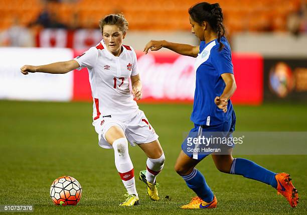 Jessie Fleming of Canada battles for the ball with Kellin Mayen of Guatemala during the 2016 CONCACAF Women's Olympic Qualifying at BBVA Compass...