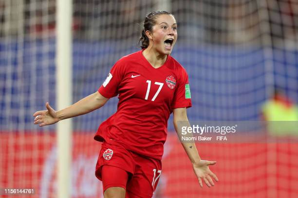 Jessie Fleming of Canada celebrates after scoring her team's first goal during the 2019 FIFA Women's World Cup France group E match between Canada...
