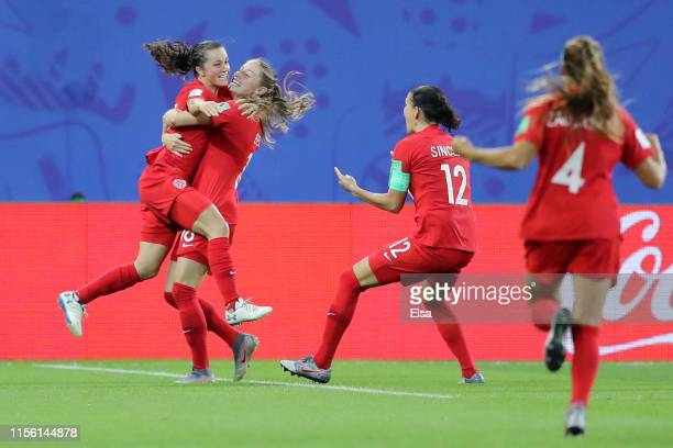 Jessie Fleming of Canada celebrates with teammate Janine Beckie after scoring her team's first goal during the 2019 FIFA Women's World Cup France...