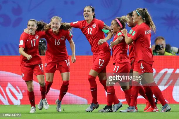Jessie Fleming of Canada celebrates with teammates after scoring her team's first goal during the 2019 FIFA Women's World Cup France group E match...