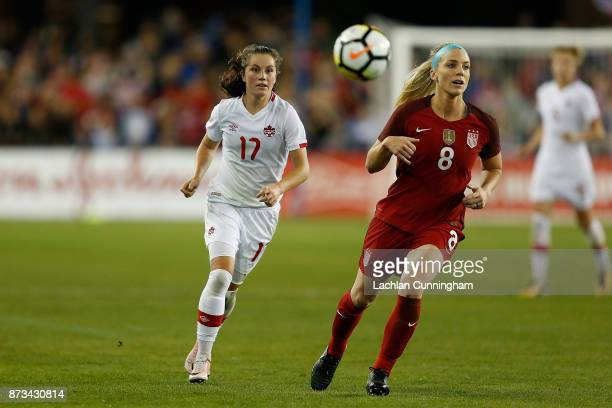 Jessie Fleming of Canada completes against Julie Ertz of the United States during a friendly match at Avaya Stadium on November 12 2017 in San Jose...