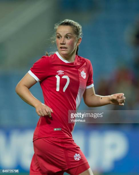 Jessie Fleming of Canada during the Group B 2017 Algarve Cup match between Portugal and Canada at the Estadio Algarve on March 06 2017 in Faro...