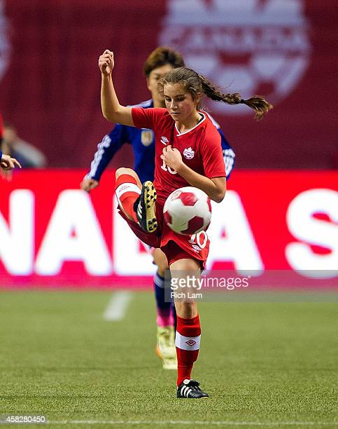 Jessie Fleming of Canada handles the ball against Japan during the Women's International Soccer Friendly Series on October 28 2014 at BC Place...