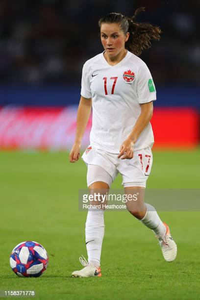 Jessie Fleming of Canada in action during the 2019 FIFA Women's World Cup France Round Of 16 match between Sweden and Canada at Parc des Princes on...