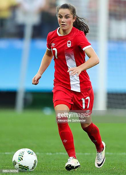 Jessie Fleming of Canada in action during the match between Canada and Zimbabwe womens football for the summer olympics at Arena Corinthians on...