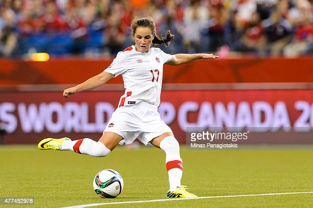 Jessie Fleming of Canada kicks the ball during the 2015 FIFA Women's World Cup Group A match against the Netherlands at Olympic Stadium on June 15...