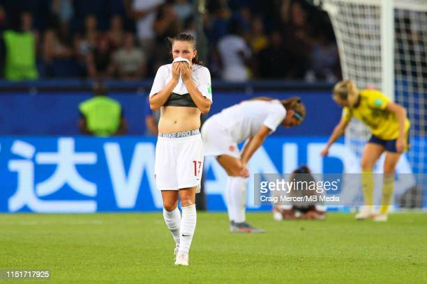Jessie Fleming of Canada looks dejected after the 2019 FIFA Women's World Cup France Round Of 16 match between Sweden and Canada at Parc des Princes...