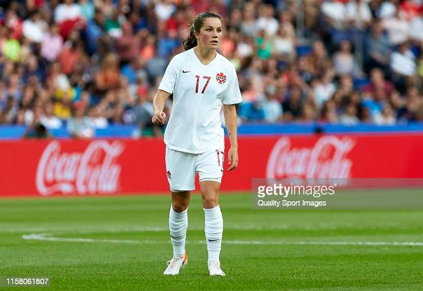 Jessie Fleming of Canada looks on during the 2019 FIFA Women's World Cup France Round Of 16 match between Sweden and Canada at Parc des Princes on...