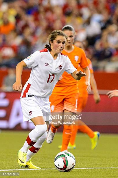 Jessie Fleming of Canada looks to play the ball during the 2015 FIFA Women's World Cup Group A match against the Netherlands at Olympic Stadium on...