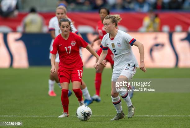 Jessie Fleming of Canada moves after Emily Sonnett of the United States during a game between Canada and United States at Dignity Health Sports Park...