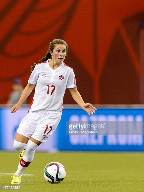 Jessie Fleming of Canada moves the ball during the 2015 FIFA Women's World Cup Group A match against the Netherlands at Olympic Stadium on June 15...