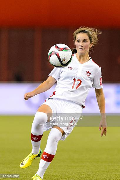 Jessie Fleming of Canada plays the ball during the 2015 FIFA Women's World Cup Group A match against the Netherlands at Olympic Stadium on June 15...