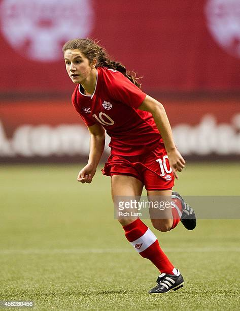 Jessie Fleming of Canada runs during Women's International Soccer Friendly Series action against Japan on October 28 2014 at BC Place Stadium in...