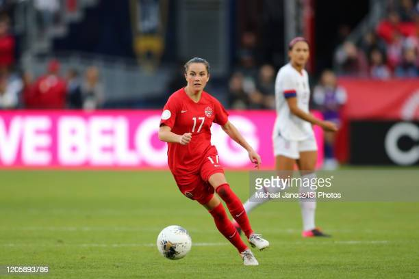 Jessie Fleming of Canada runs with the ball during a game between Canada and United States at Dignity Health Sports Park on February 9 2020 in Carson...