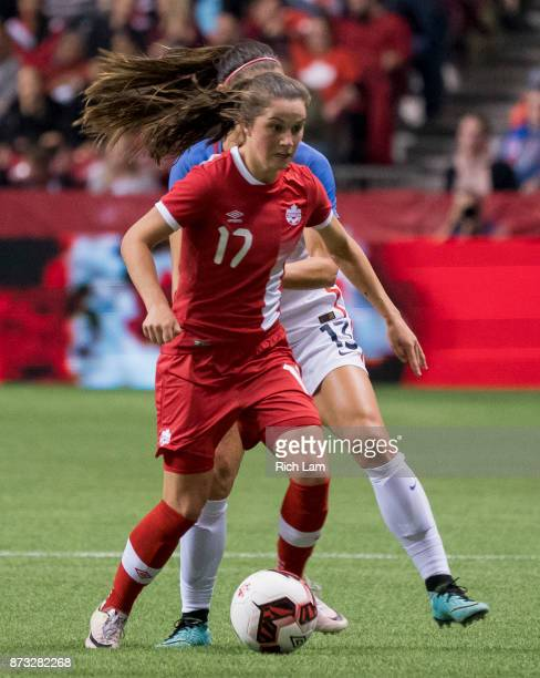 Jessie Fleming of Canada runs with the ball during an International Friendly soccer match against USA at BC Place on November 9 2017 in Vancouver...