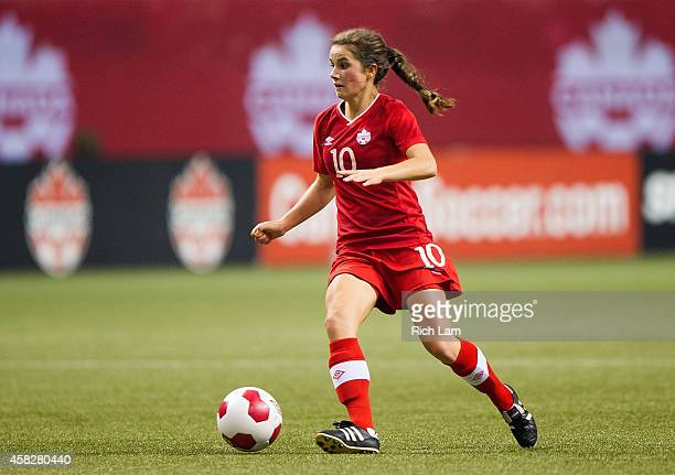 Jessie Fleming of Canada runs with the ball during Women's International Soccer Friendly Series action against Japan on October 28 2014 at BC Place...